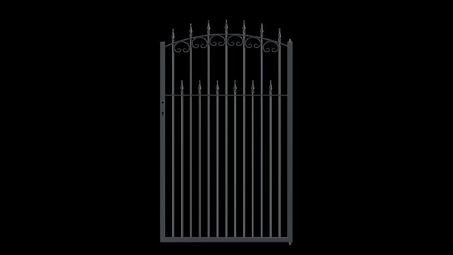Gartentor Lugano in gebogener Form mit Spitze Stab, pulverbeschichtet