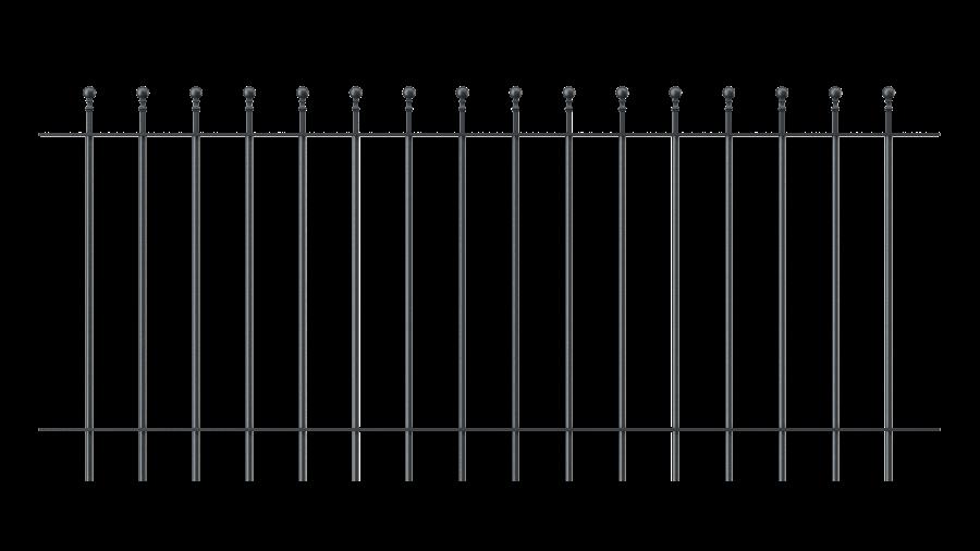 Zaunelemente Ancona, gerade Ausführung mit Spitze Kugelstab, pulverbeschichtet